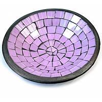 Блюдо терракотовое с фиолетовой мозаикой (d-15 h-3 см)