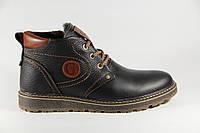 Зимние мужские ботинки, полуботинки черные натуральная кожа GT2S