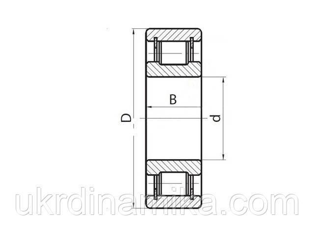 Радиальный цилиндрический роликоподшипник однорядный - схема