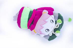 Стильные детские варежки с мягкой игрушкой новинка сезона