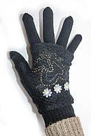 Вязаные перчатки со стразами черного цвета