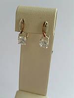 Нежные серебряные серьги с золотыми пластинами (арт.01-108С)
