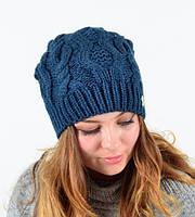 Стильная однотонная зимняя теплая молодежная оригинальная женская шапка