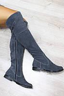Сапоги-ботфорты женские демисезонные, материал - натуральная замша, цвет - серый