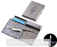 Портсигар в подарочной упаковке с зажигалкой на 20 сигарет Солдат №3306-7
