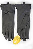 Черние женские кожаные перчатки КРОЛИК от производителя