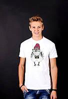 Белая футболка с принтом  ХипстерскаяЦипа  для мужчин и женщин
