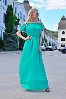 Женский летний легкий сарафан макси с открытыми плечами, фото 1