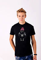 Черная футболка с принтом  ХипстерскаяЦипа  для мужчин и женщин