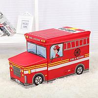 Пуф-Короб складной, ящик для игрушек С КАПОТОМ (Пожарная машина)