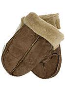 Теплые детские варежки 4-6 лет коричневого цвета