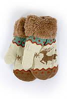 Теплые детские варежки с оленями новинка сезона
