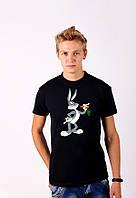 Черная футболка с принтом  Banny  для мужчин и женщин