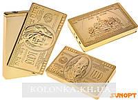 Зажигалка пьезо Клише 100$, под золото №2919