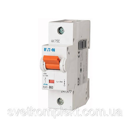 Автоматический выключатель PLHT-B63 (247977) Eaton 63A 1P 15kA, фото 2