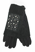 Женские зимние перчатки стрейч+ вязка черного цвета