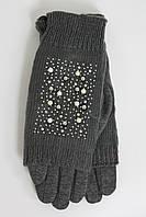 Женские теплые перчатки стрейч+ вязка серогоцвета