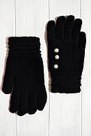 Вязаные женские перчатки черного цвета