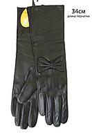 Женские перчатки длинные 340мм из качественной кожи козы