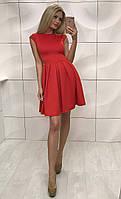 Стильное короткое платье с широкой юбкой, красное