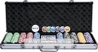 Покерный набор в алюминиевом кейсе на 500 фишек с номиналом (62x21x8см) №500n