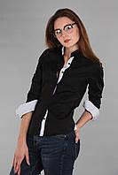 Черная женская рубашка с длинным рукавом (реплика) Armani