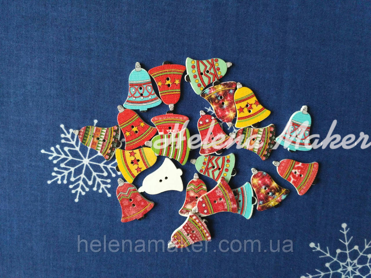 Деревянные новогодние пуговицы Колокольчики 20*25 мм
