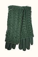 Женские зимние перчатки стрейч+вязка зеленого цвета