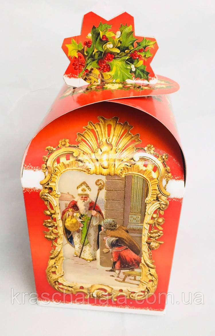 Картонная упаковка для конфет, Святой Николай, 11х11х18 см, 350-500 гр