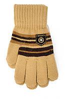 Трикотажные перчатки для мальчика горчичный цвет