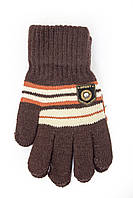 Вязаные перчатки для мальчика шоколадного цвета