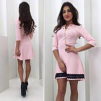 Женское расклешенное платье с разрезом впереди 3 цвета