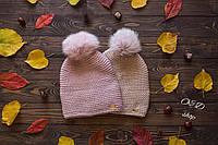Женская шапка,шерсть с акрилом, бубон - мех песца 5П1347