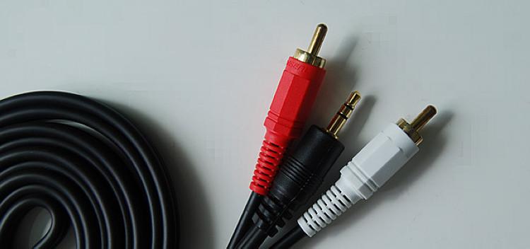 Аудио кабель jack 3,5 RCA тюльпан (3 метра)