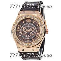 Часы женские наручные Hublot 882888 Classic Fusion Crystal Brown-Gold-Brown