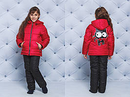 Зимний костюм детский Кот красный