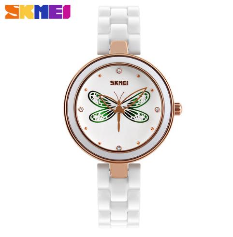 Женские наручные часы SKMEI 9131 с зеленой стрекозой