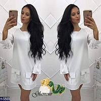 Стильное белое короткое платье с накладными кармашками. Арт-11121