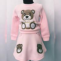 """Детский трикотажный костюм для девочки """"Мишка"""" с аппликацией (3 цвета)"""