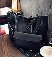 Большая сумка с косметичкой женская черная код 3-325