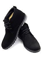 Мужские зимние ботинки из натурального нубука, модель Vebster, черный