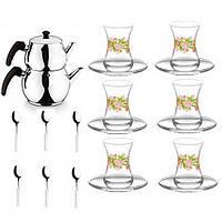 Набор турецкого чаепития чайник турецкий 1л/2л стаканы 6шт блюдца 6шт ложки 6шт узор