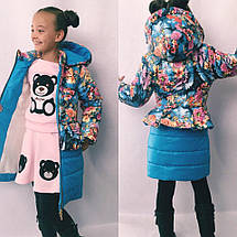 """Стеганое детское пальто для девочки """"Milena"""" с карманами и капюшоном (4 цвета), фото 2"""