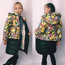 """Стеганое детское пальто для девочки """"Milena"""" с карманами и капюшоном (6 цветов), фото 2"""