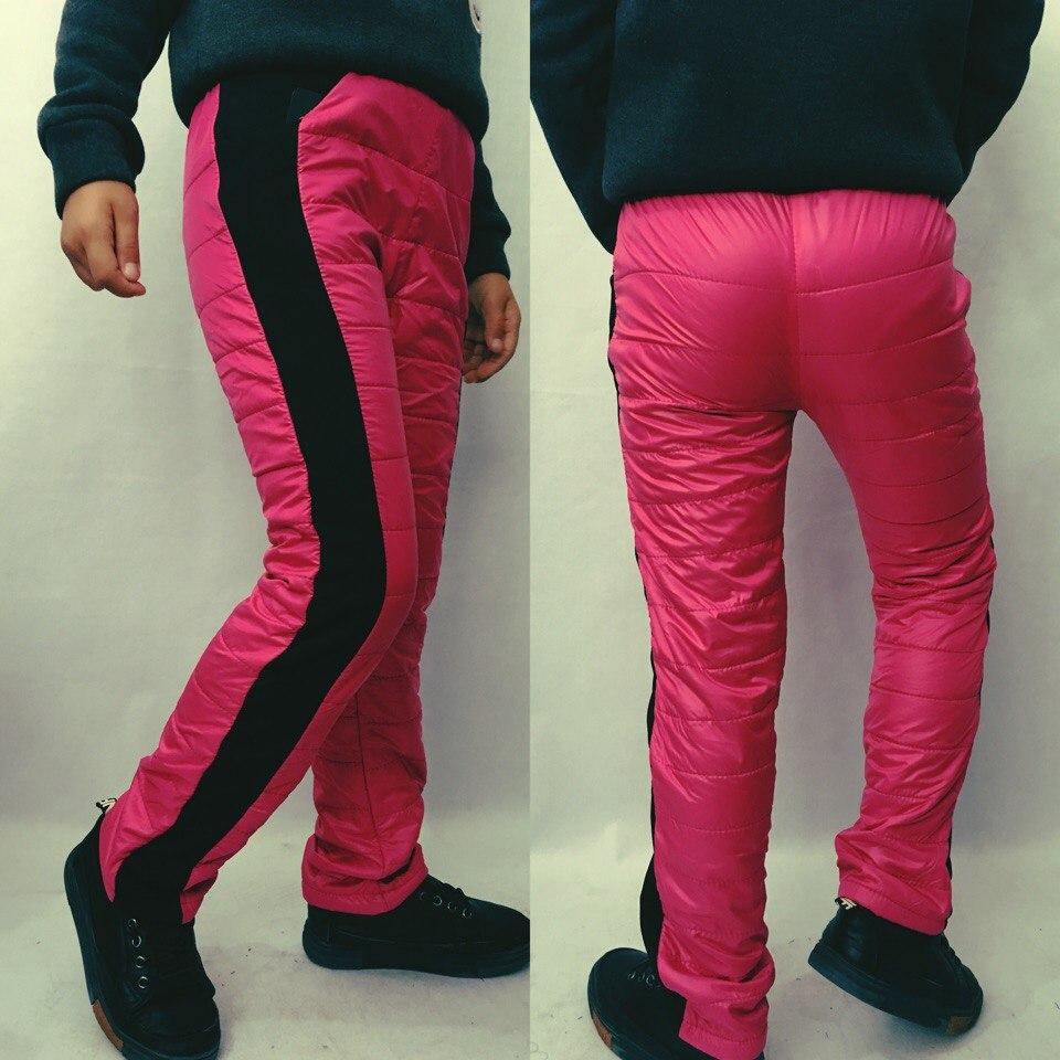 """Теплые детские спортивные штаны на флисе """"WOW"""" с трикотажными вставками (4 цвета)"""