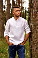 Вышиванка мужская голубая c вышивкой белым по белому