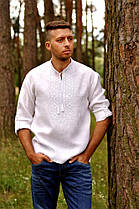 Вышиванка мужская льняная c вышивкой белым по белому