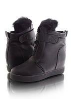 Женские ботинки сникерсы зимние со скрытой танкеткой 17033
