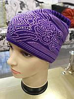 Женская шапка, вязаная (с рисунком)