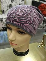 Женская шапка вязаная (цвет: серый и розовый рисунок), фото 1
